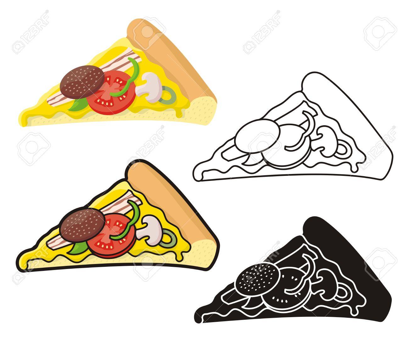 Pizza slice illustration in four versions. - 15697412