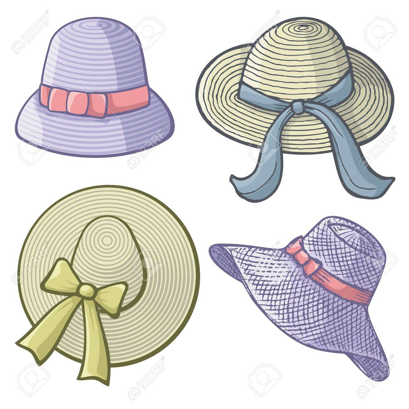 Collection of women's hats isolated on white background. - 16268858