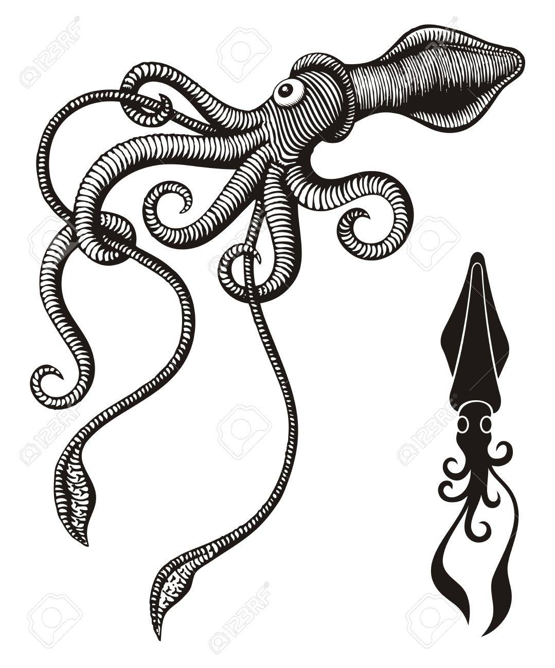 Black and white monster squid woodcut. - 16814202