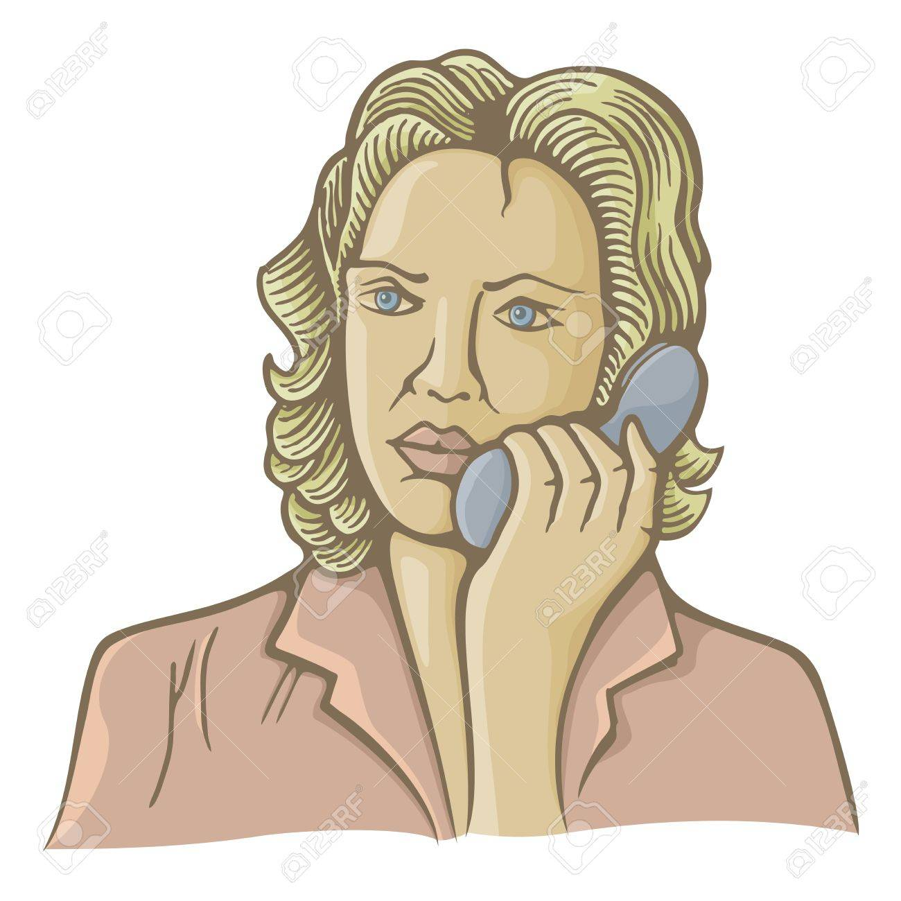 Old fashion illustration of woman speaking on phone. - 16814200