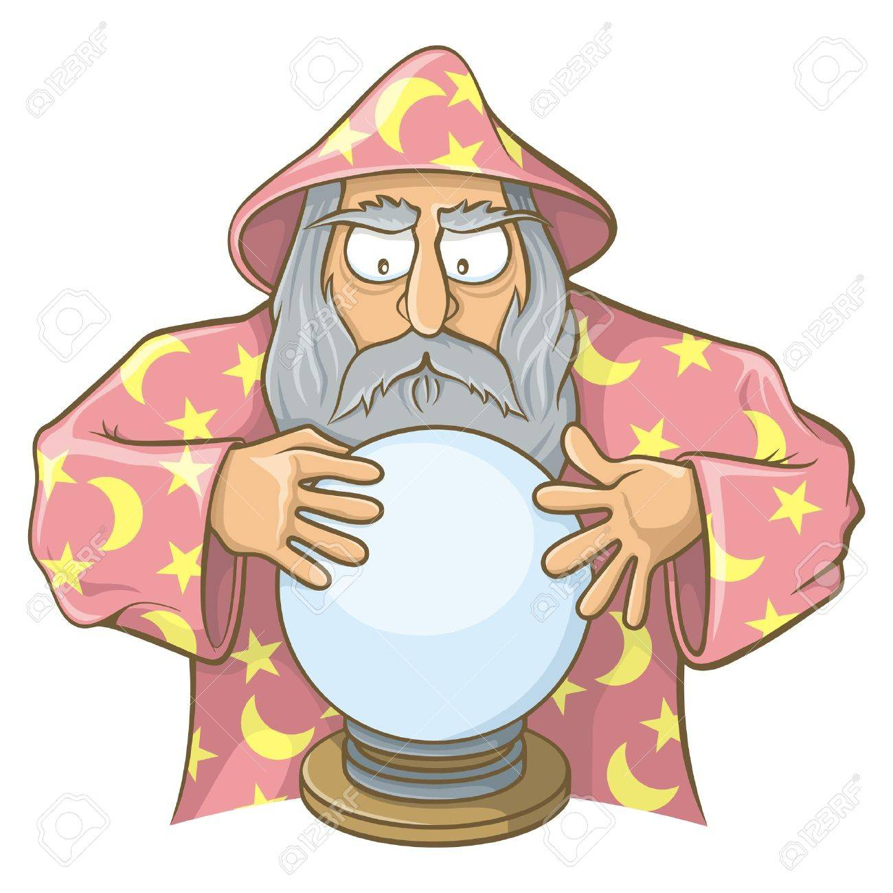 Old wizard cartoon in pink cape looking at magic ball. - 18594541