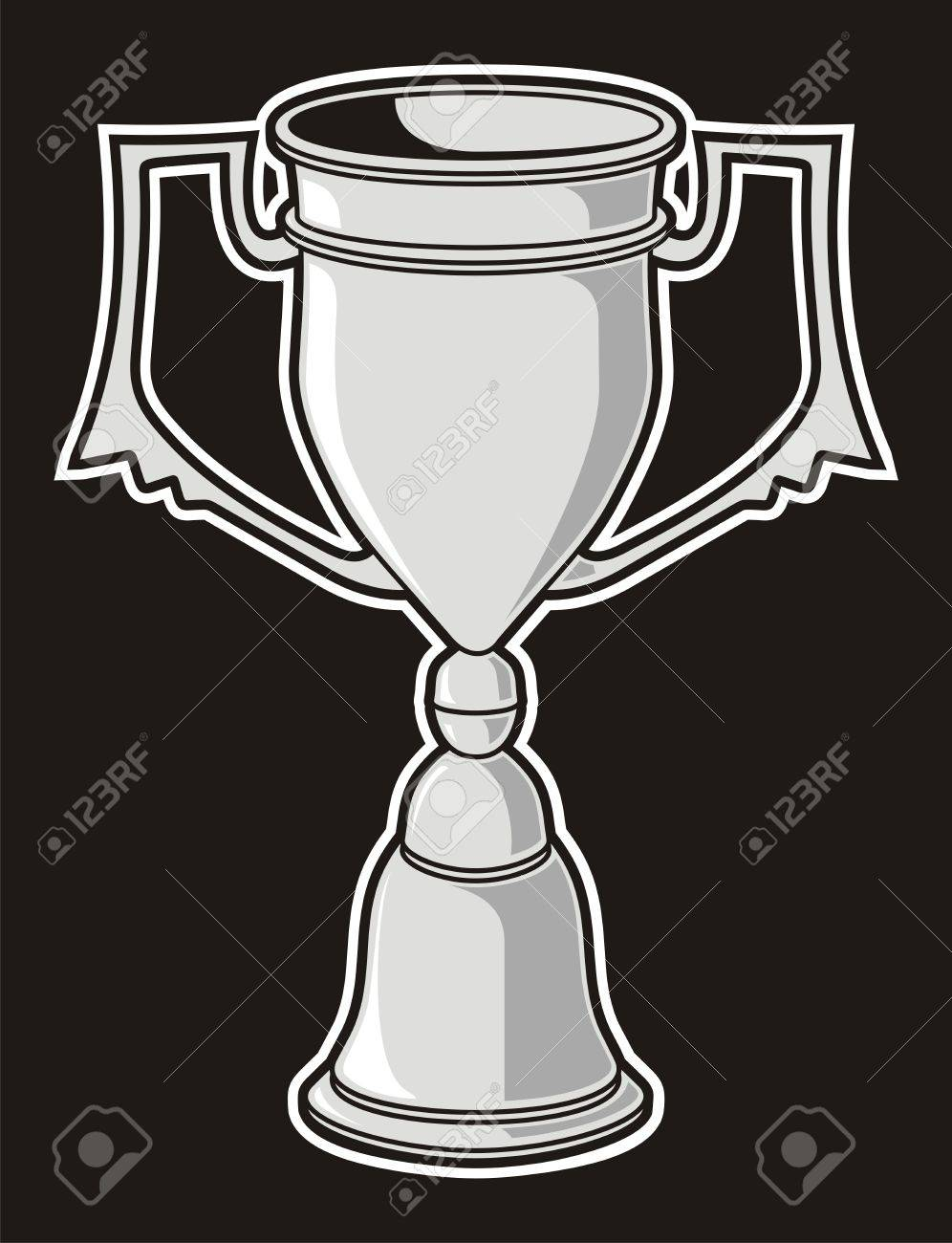 Grayscale cup award isolated on black background. - 19612098