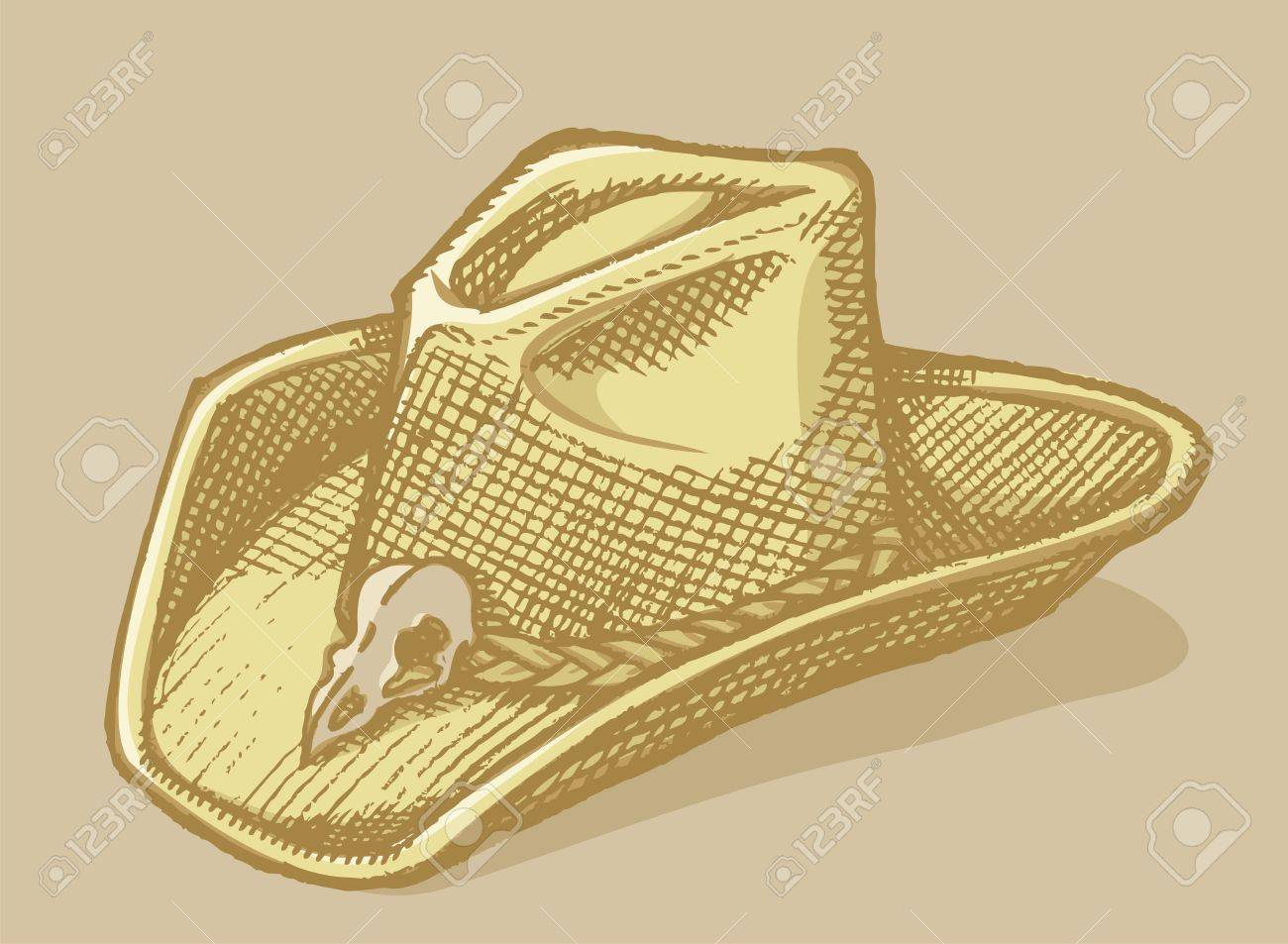 hat sketch with bird scull on beige background. - 19612101