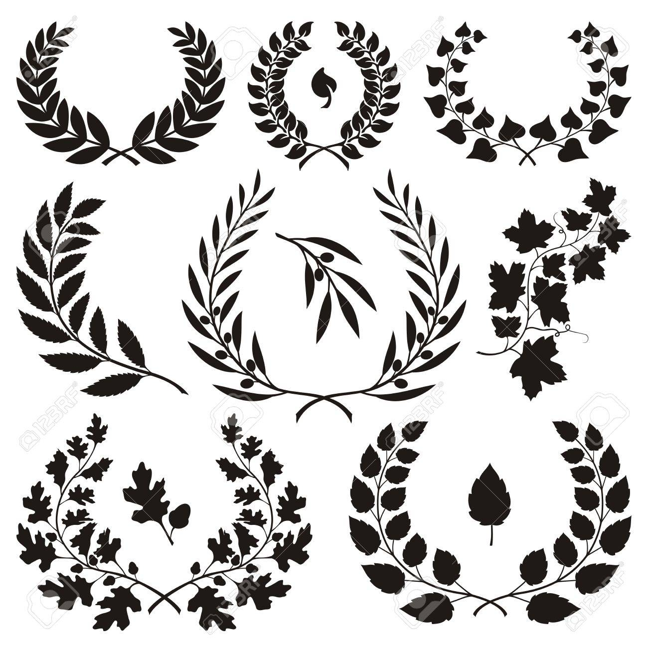 Various wreath icons isolated on white background. - 19612100
