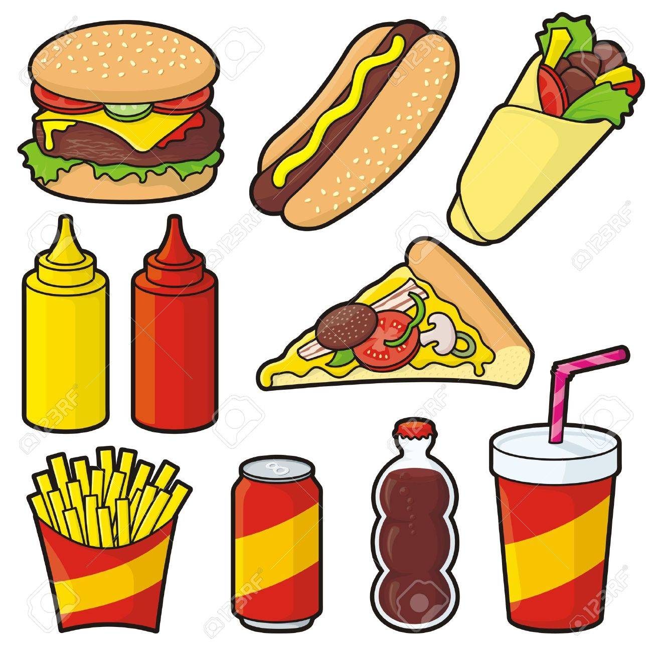 Fast food icons isolated on white - 21889877