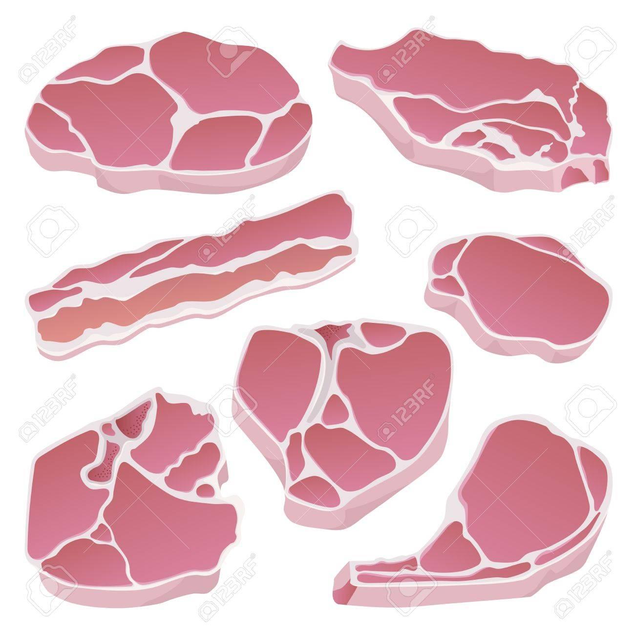 Raw pork cuts isolated - 23298403