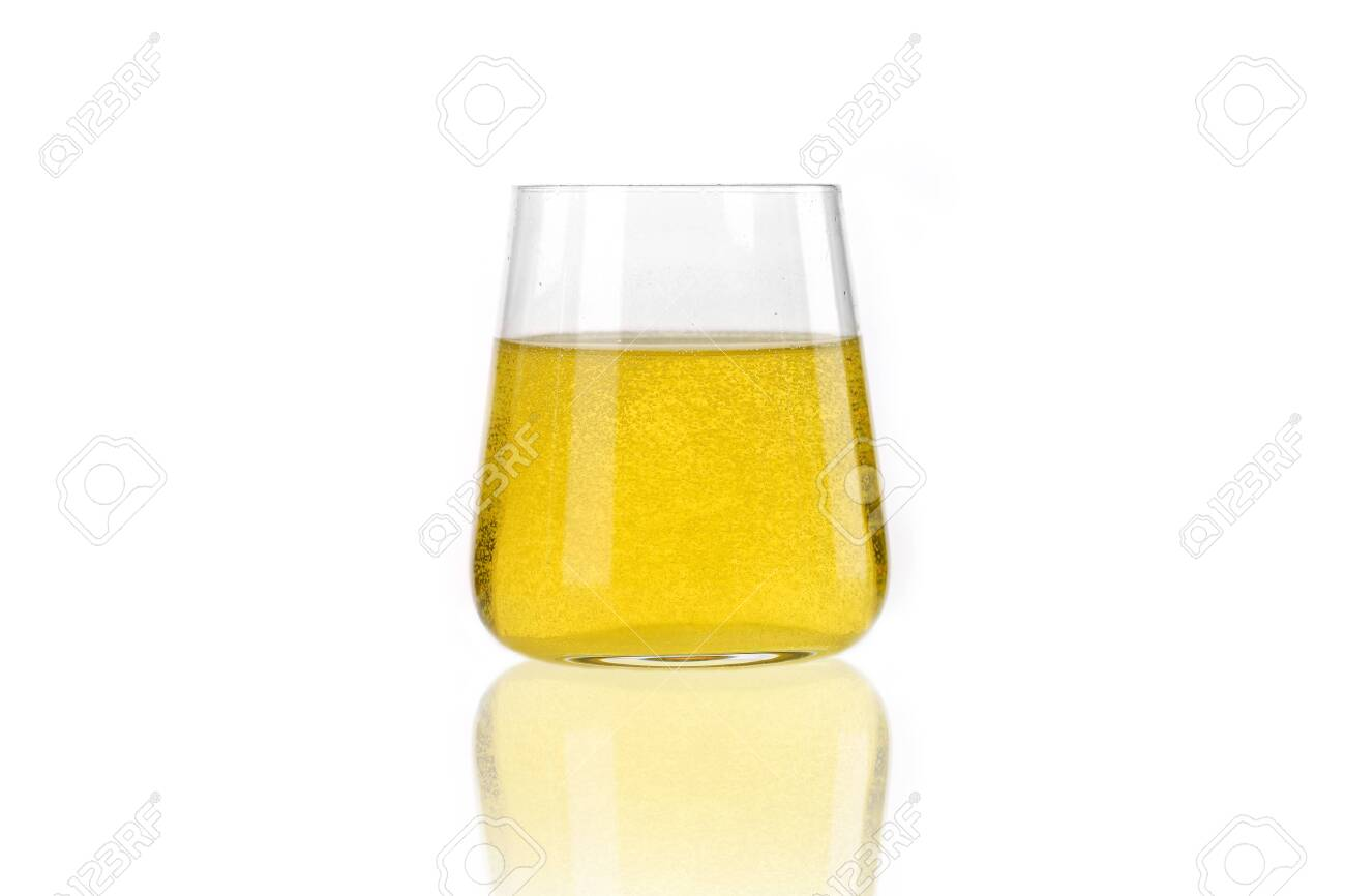 Fizzy citron drink in glass isolated on white - 155832860