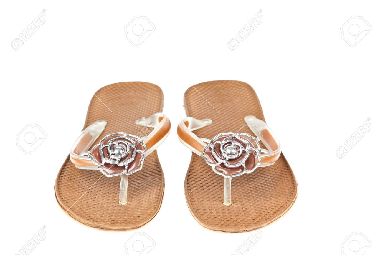 Brown Flip Flops Beach Shoes With Flowers On White Background Stock