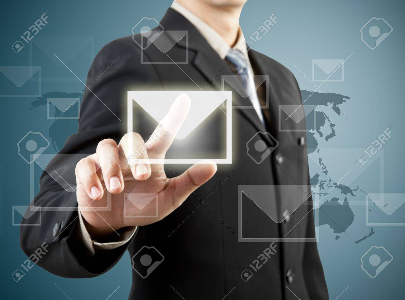 businessman hand pushing mail sign Stock Photo - 13550780