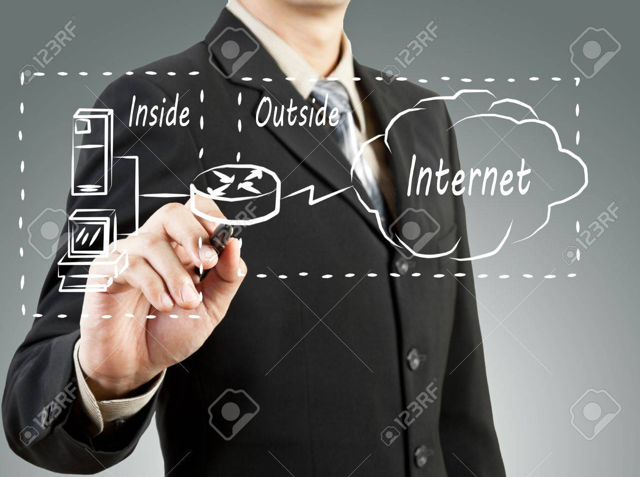 Business Man Draw Network Diagram Basic Concept Stock Photo ...
