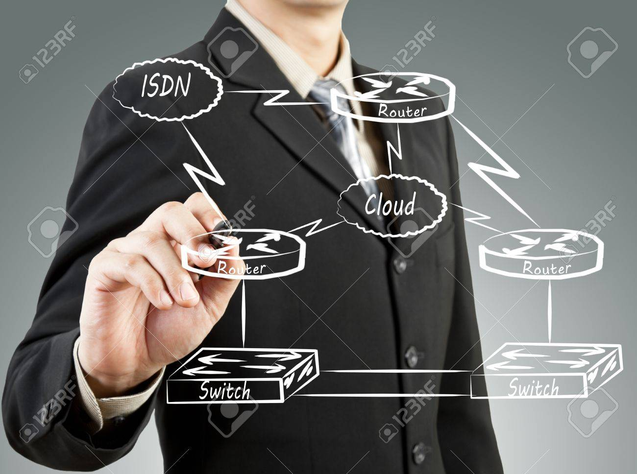 Business man draw network diagram basic concept