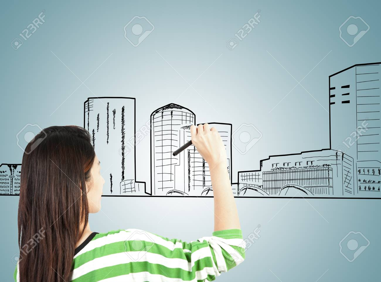 woman draw building and cityscape Stock Photo - 13855942