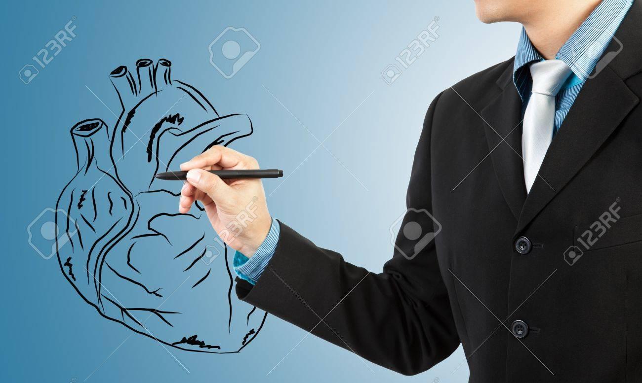 businessman drawing heart diagram Stock Photo - 14179947