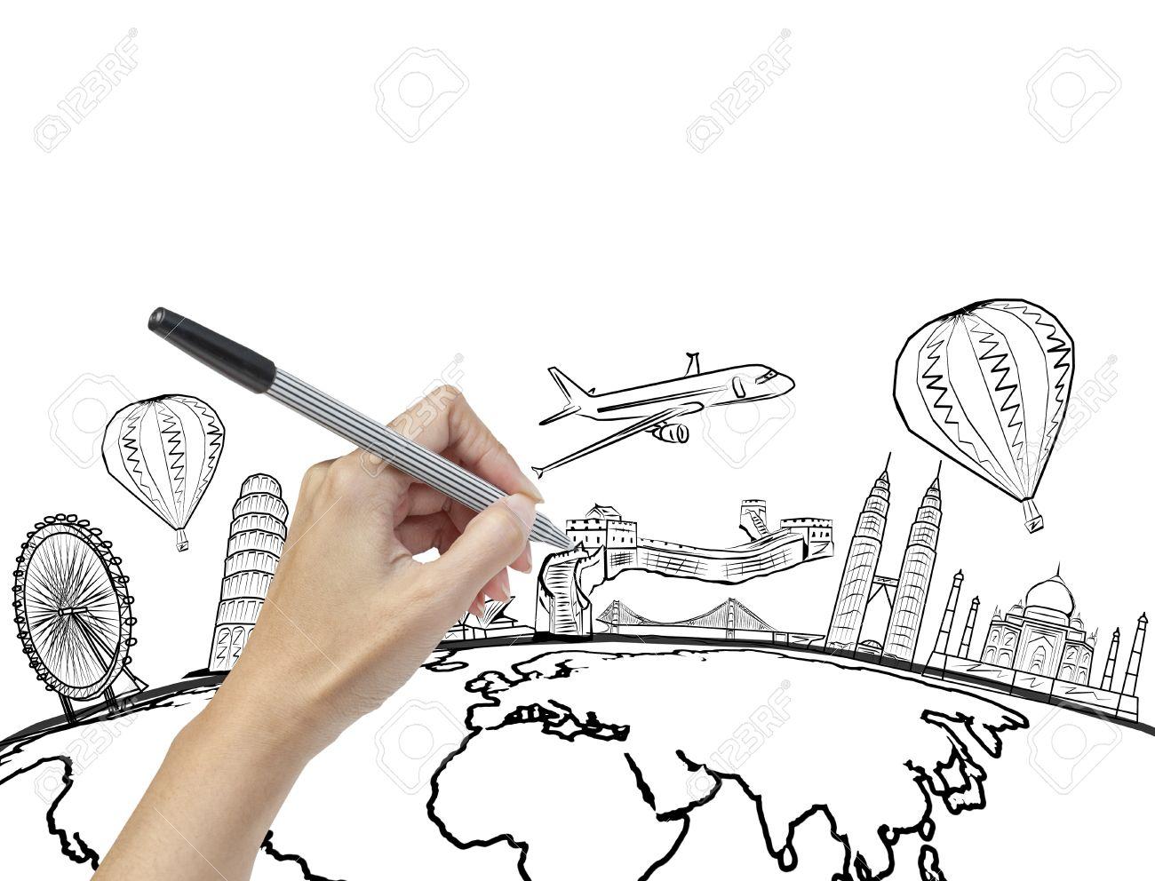 Hand Drawing The Dream Travel Around World Stock Photo
