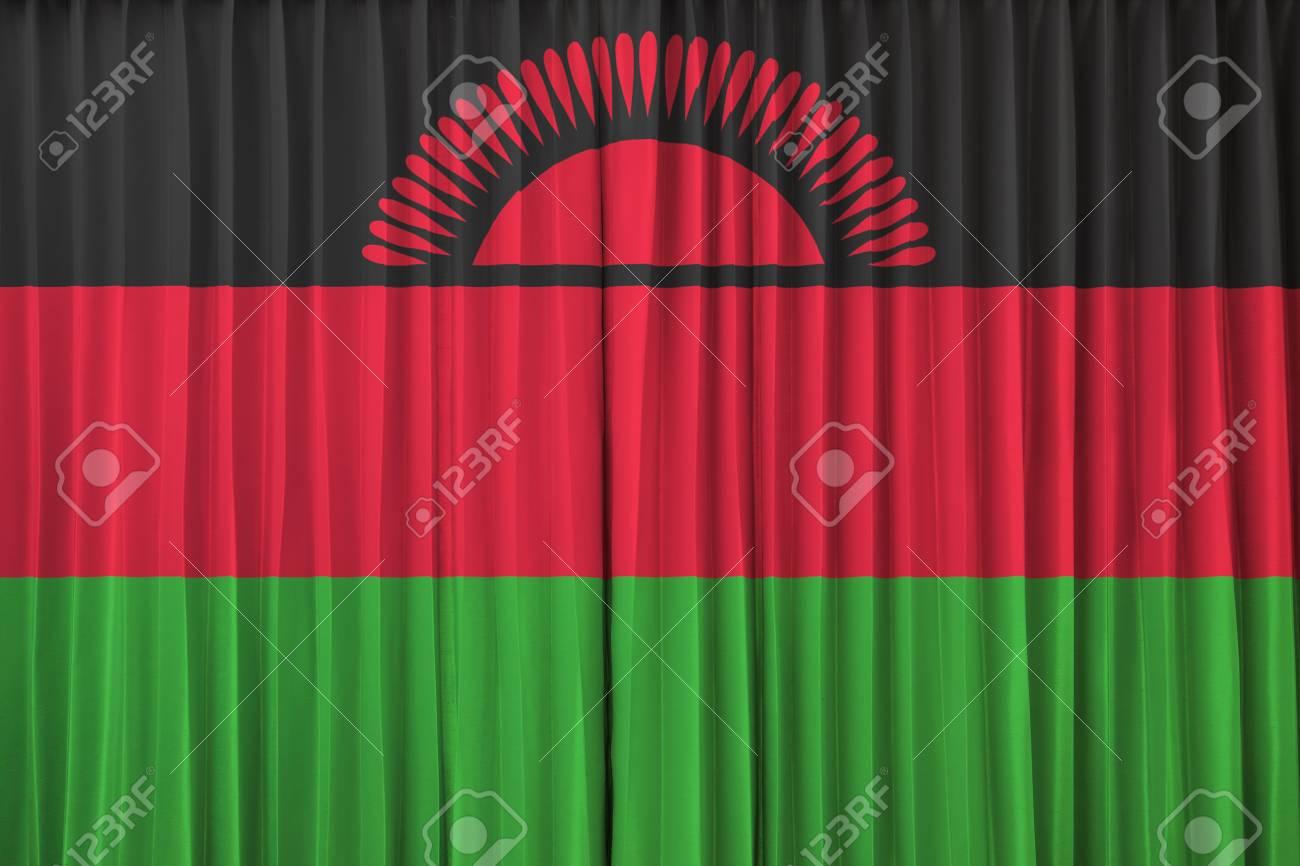 Malawi flag on curtain Stock Photo - 22639525
