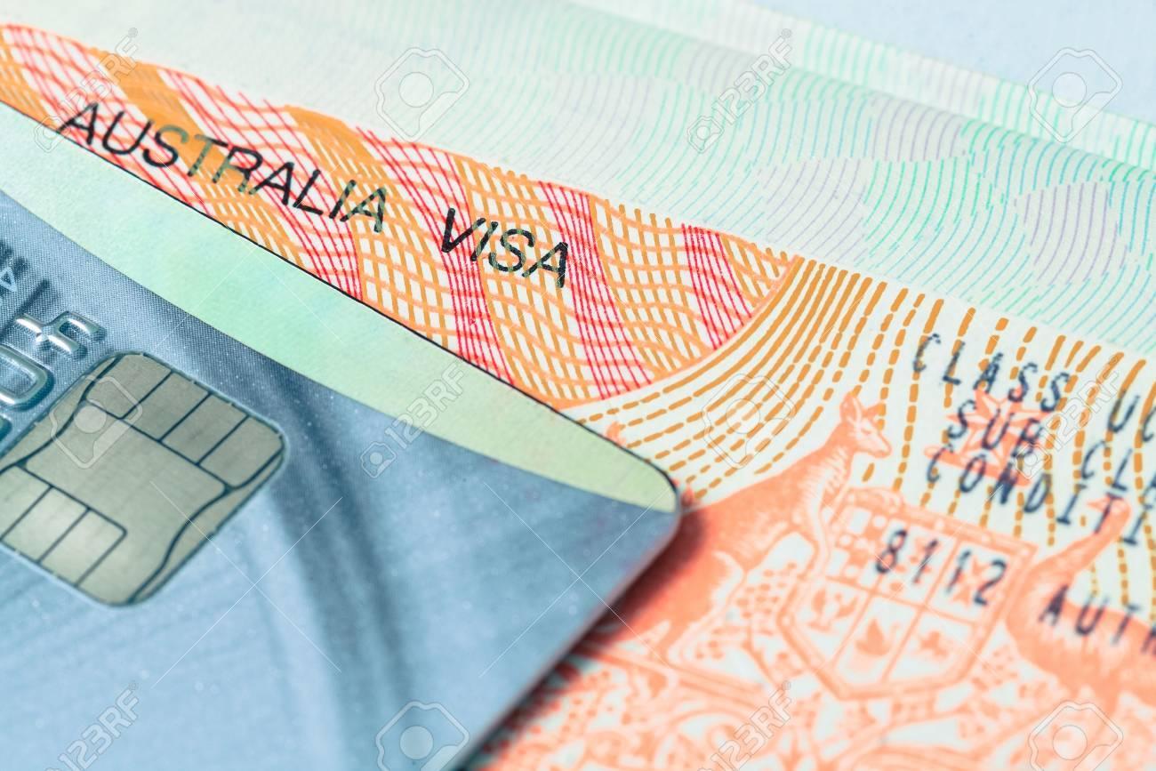 Carte Visa Australie.Passeport Visa De Timbre Et Une Carte De Credit Pour Le Concept De Voyage Fond Australie