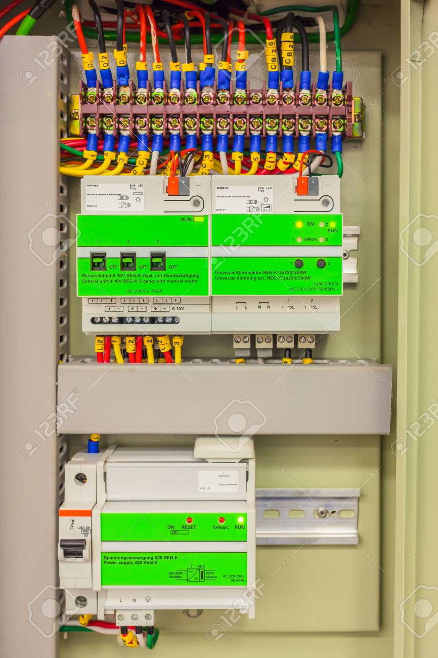 Electrical Panel Line, Controls And Switches, Safety Concept Stock ...