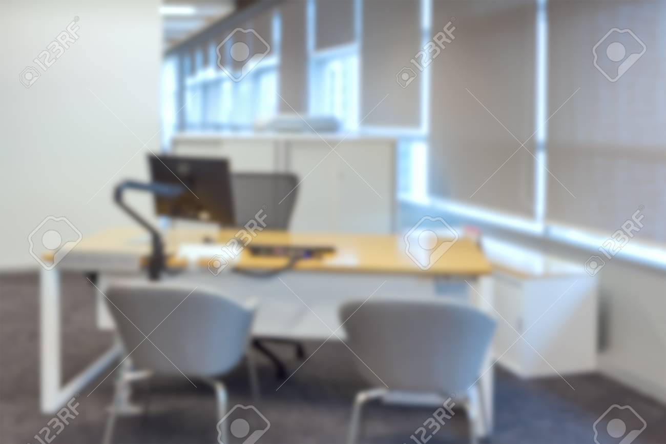 Enjoyable Abstract Business Office Desk With Computer Blur Background Download Free Architecture Designs Embacsunscenecom