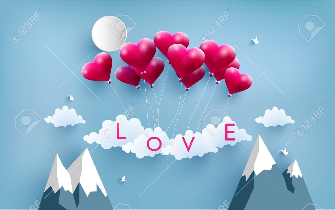 Feliz San Valentn Ilustracin Amor Globos Con Hermosas Formas