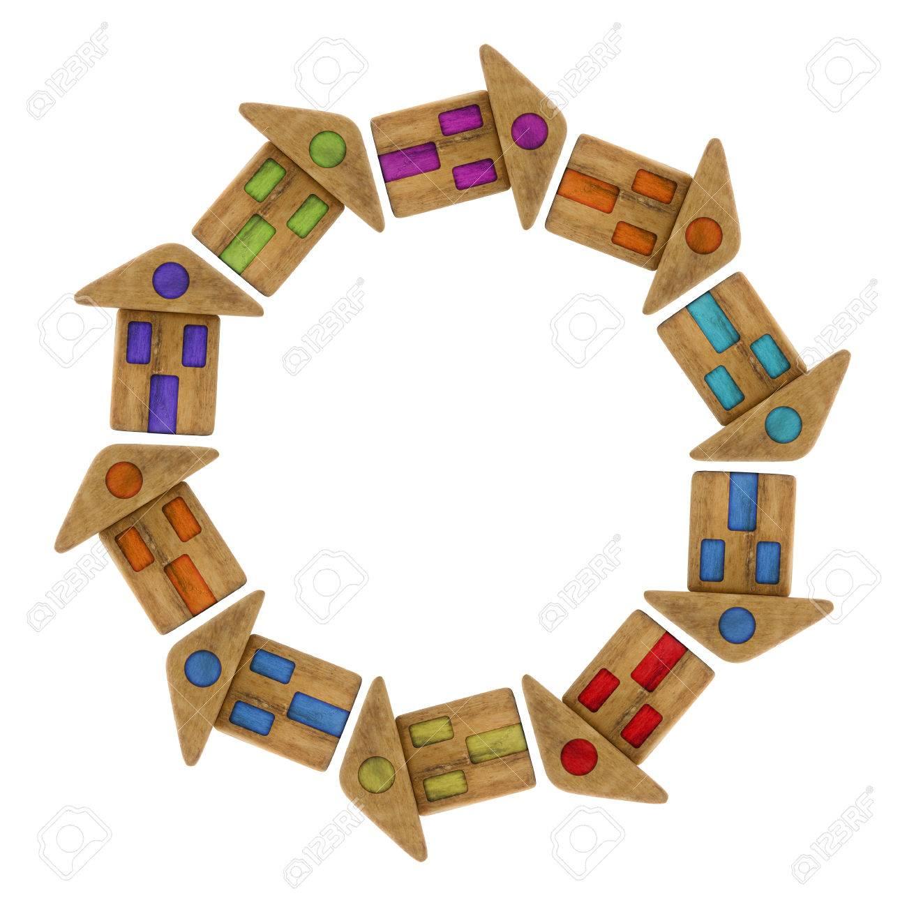 petites maisons en bois colorées autour d'un centre - image concept