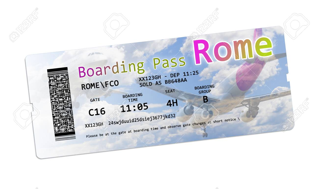 Airline Boarding Pass Tickets To Rome Isolated On White - The.. Stock Photo, Picture And Royalty Free Image. Image 92598263.