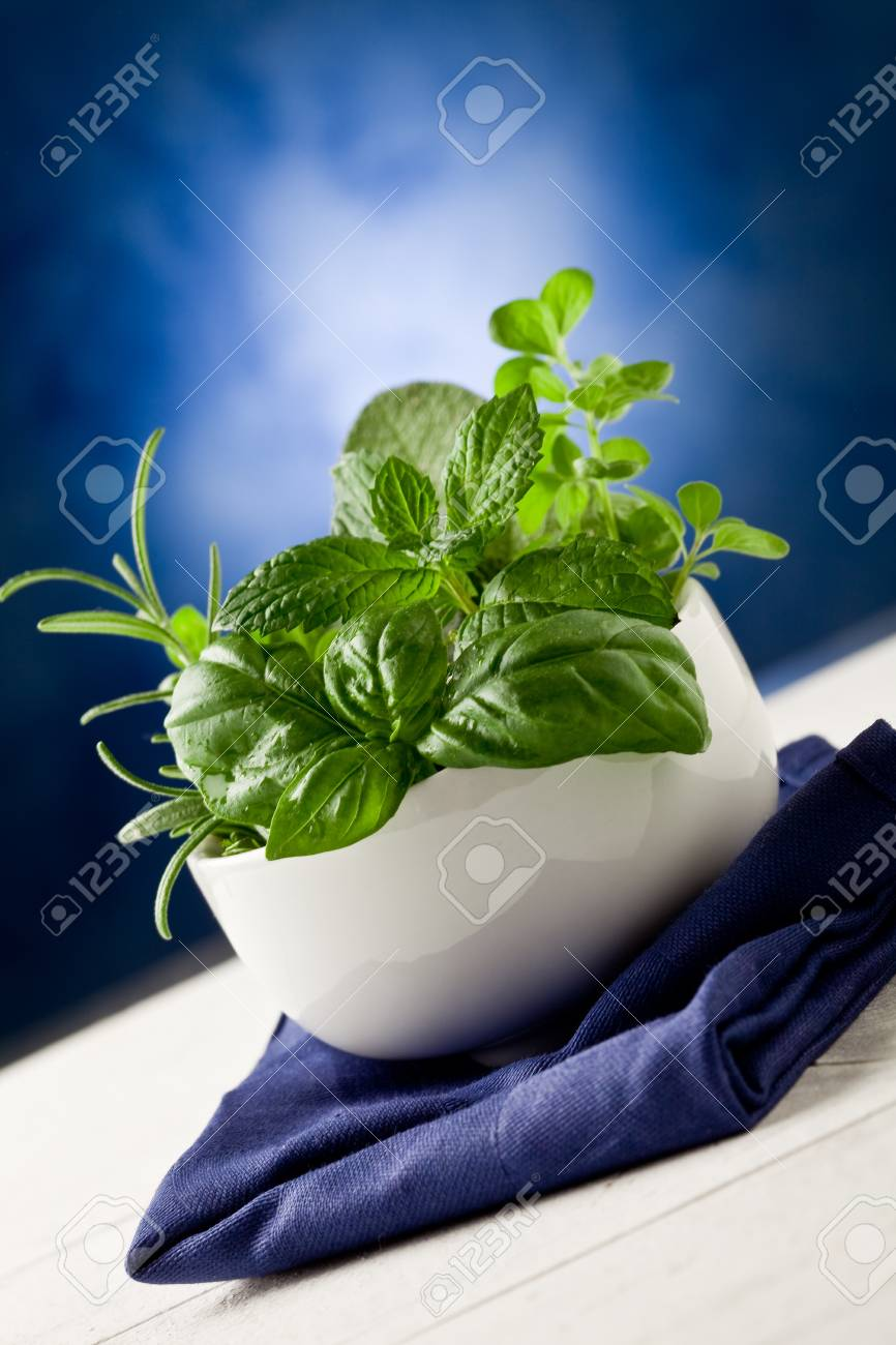 photo of delicious different herbs inside a bowl ready to be processed Stock Photo - 10688320