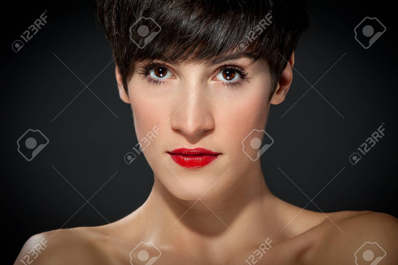 portrait photo of attractive brunette with brown short hairs Stock Photo - 16334708