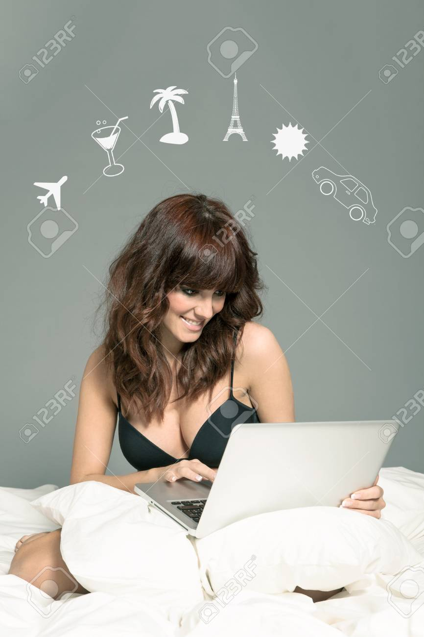 E-commerce concept of woman buying something online Stock Photo - 22222207