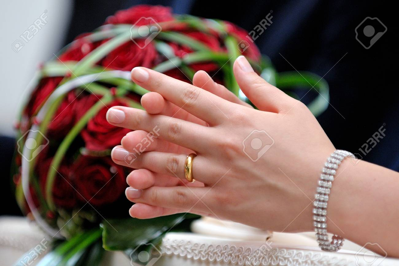 Joined Hands With The Wedding Of A Bride During The Wedding Stock ...
