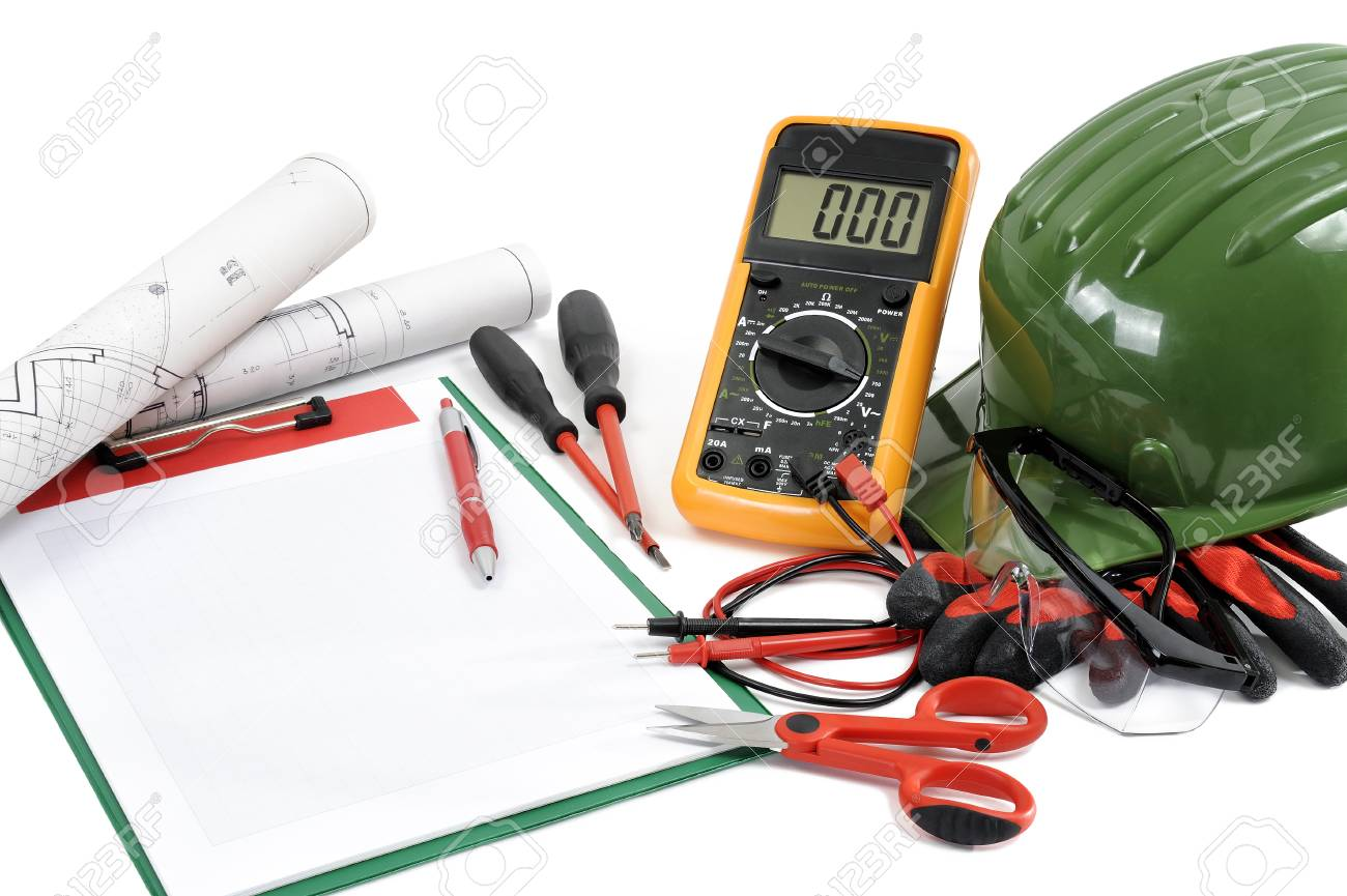 Project, Notepads And Tools For Working On A Residential Electrical ...
