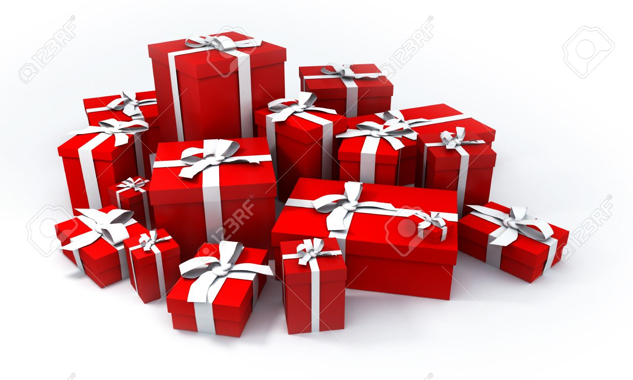 pile of red gift boxes with white ribbons Stock Photo - 1558401