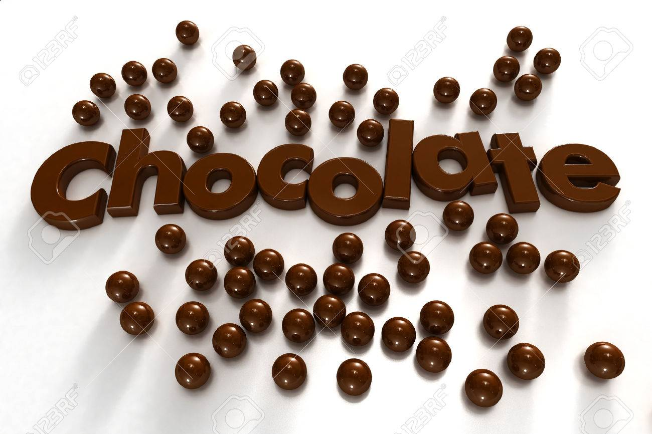 Word Chocolate Formed By Chocolate-textured Letters And Surrounded ...