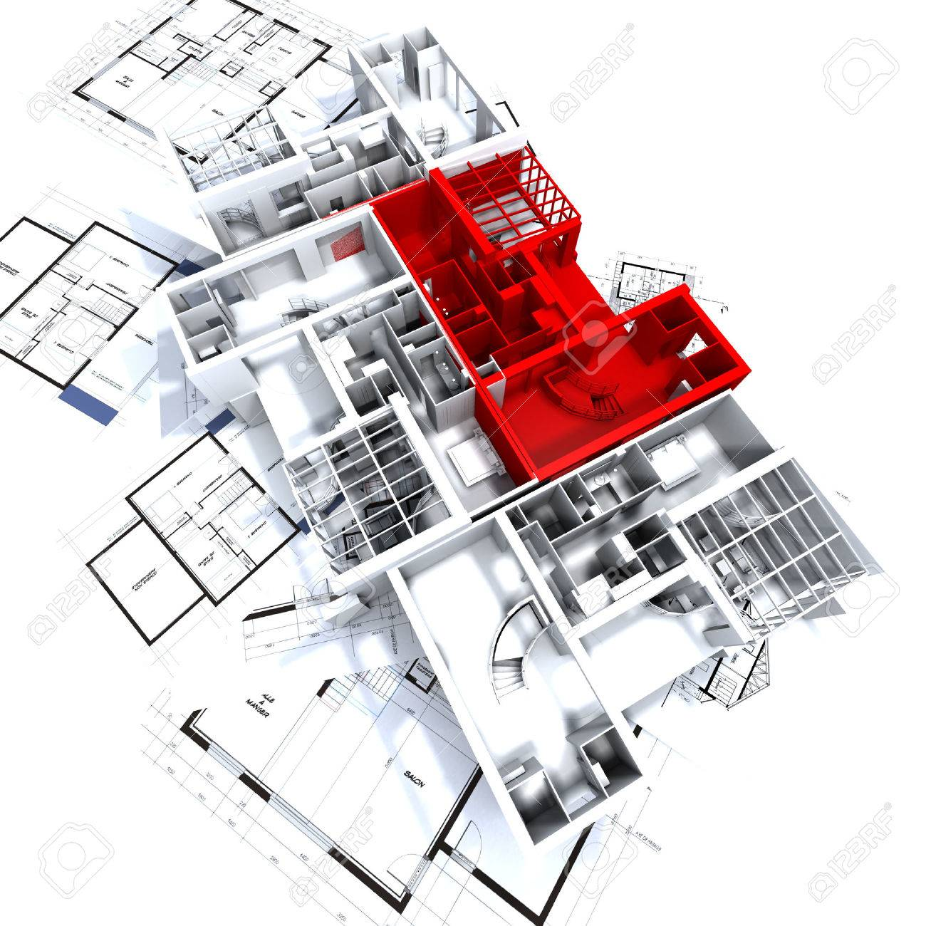 Apartment highlighted in red on a white architecture mockup on top of architect's plans Stock Photo - 1650026
