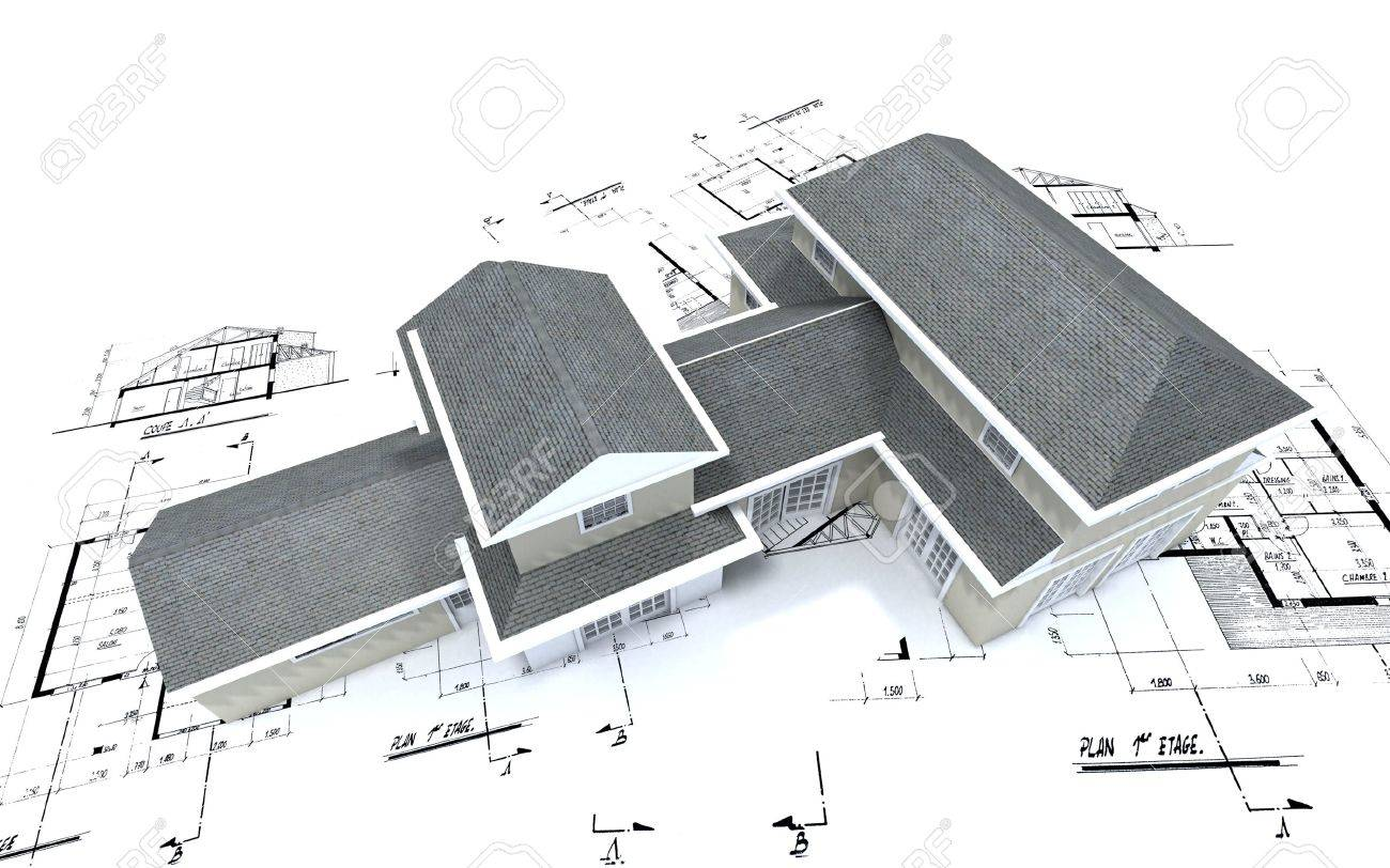 3d Rendering Of A Big Expensive Looking House On Top Architecture Blueprints Stock