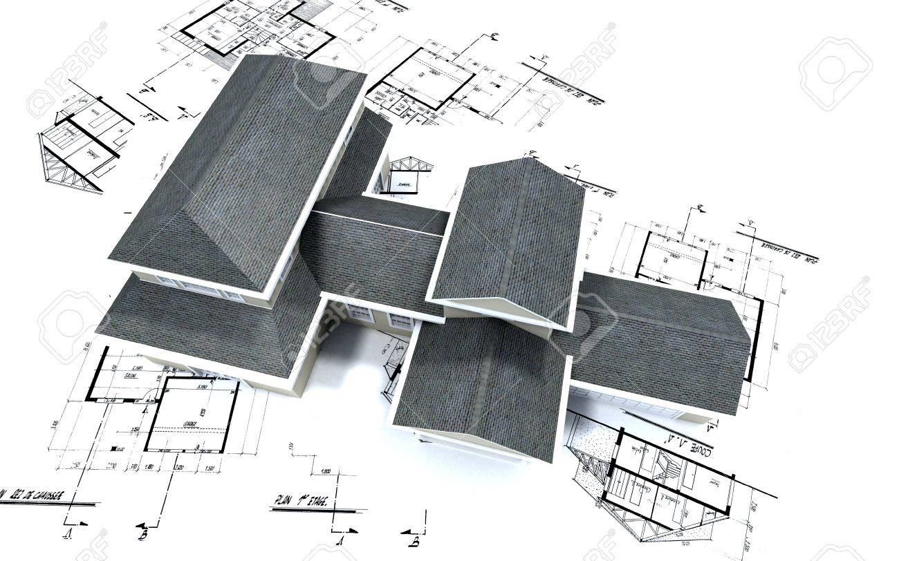Architecture Blueprints 3d 3d-rendering of a big expensive-looking house on top of