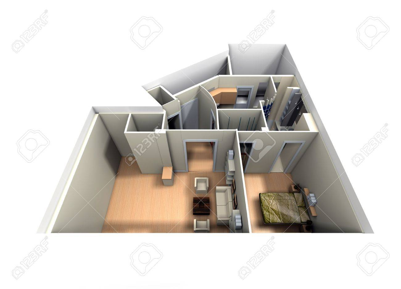 Aerial View Of Roofless Apartment Focused On Living Room And Stock