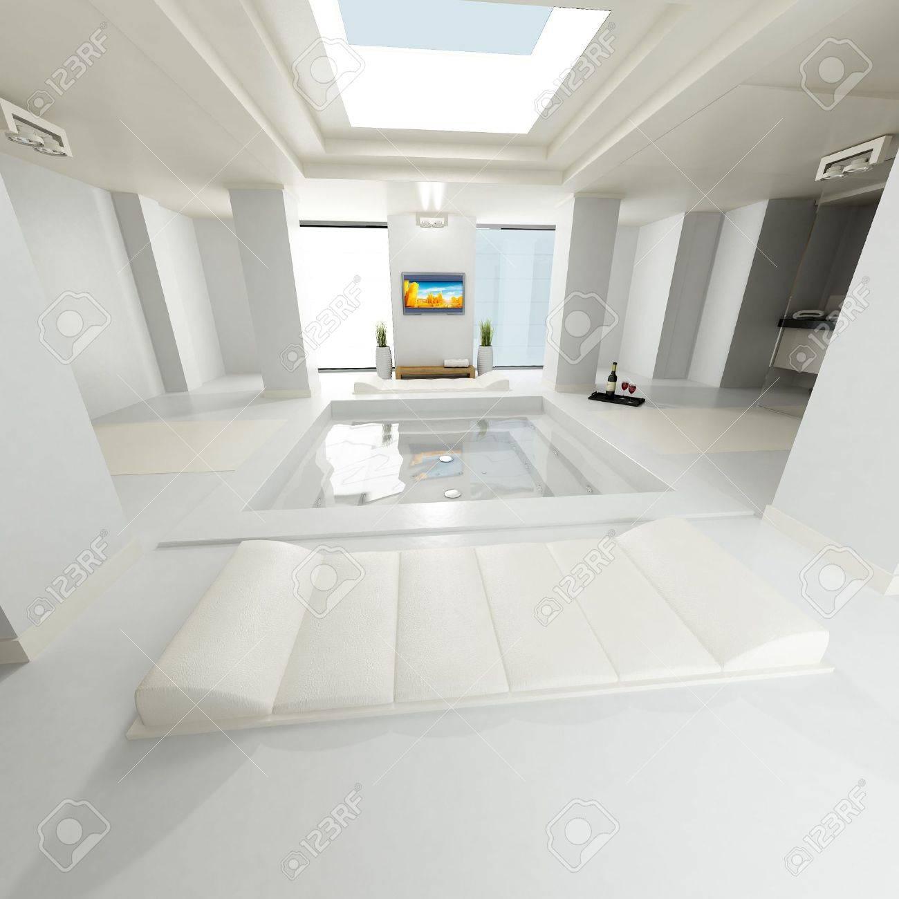 Großes Luxuriöses Badezimmer Mit Offener Decke, Lcd Tv Zu überwachen Und Zu  Anderen Design