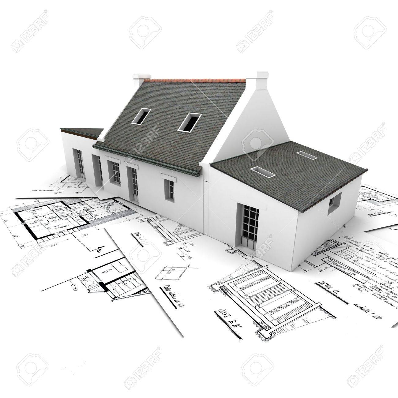 Architecture Blueprints 3d 3d rendering of a house on top of architecture blueprints stock