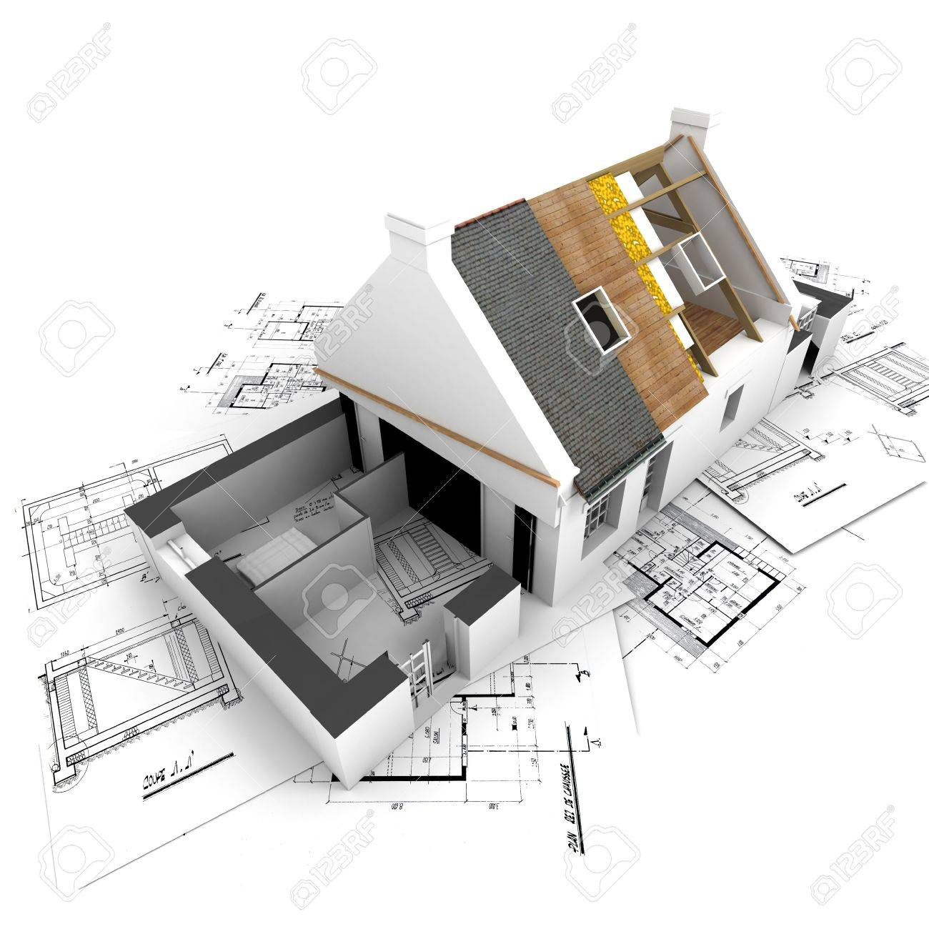 House with exposed roof layers on top of architect blueprints. Stock Photo - 2460507