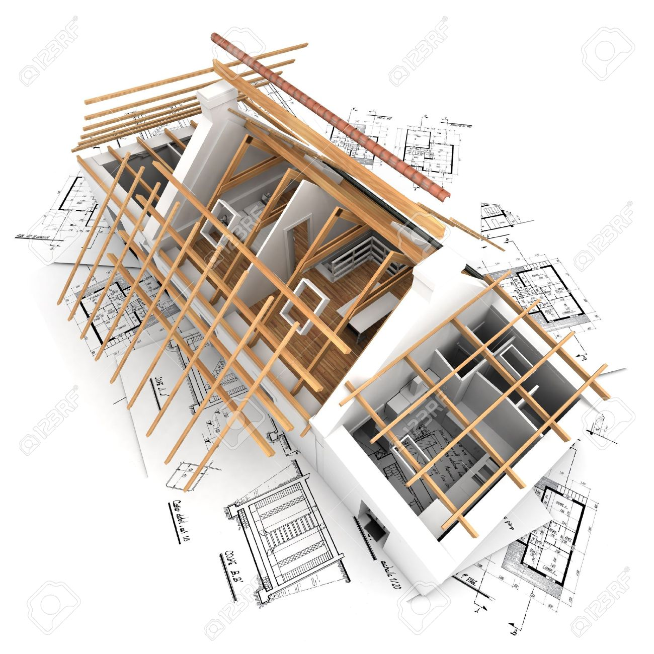 3d Rendering Of A House In The Process Of Roof Construction Stock Photo 2460509