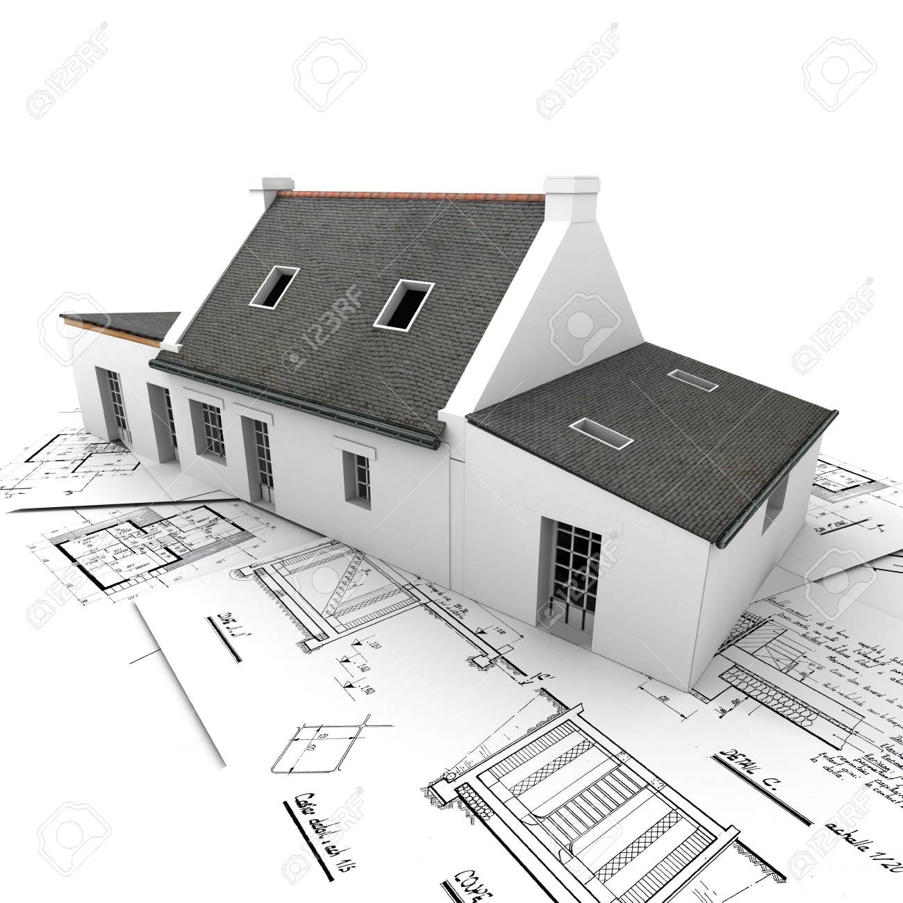 Architecture Blueprints 3d rendering of a house on top of architecture blueprints stock