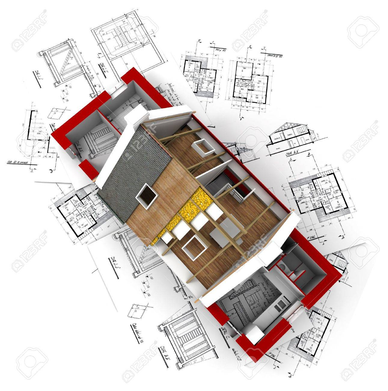 3D Rendering Of A Roofless House On Top Of Architect Plans Stock Photo    2472722