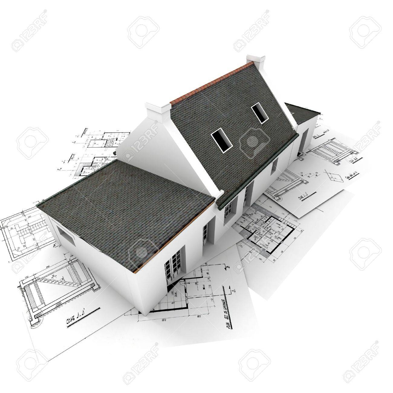Rendering Of A House On Top Of Architecture Blueprints Stock