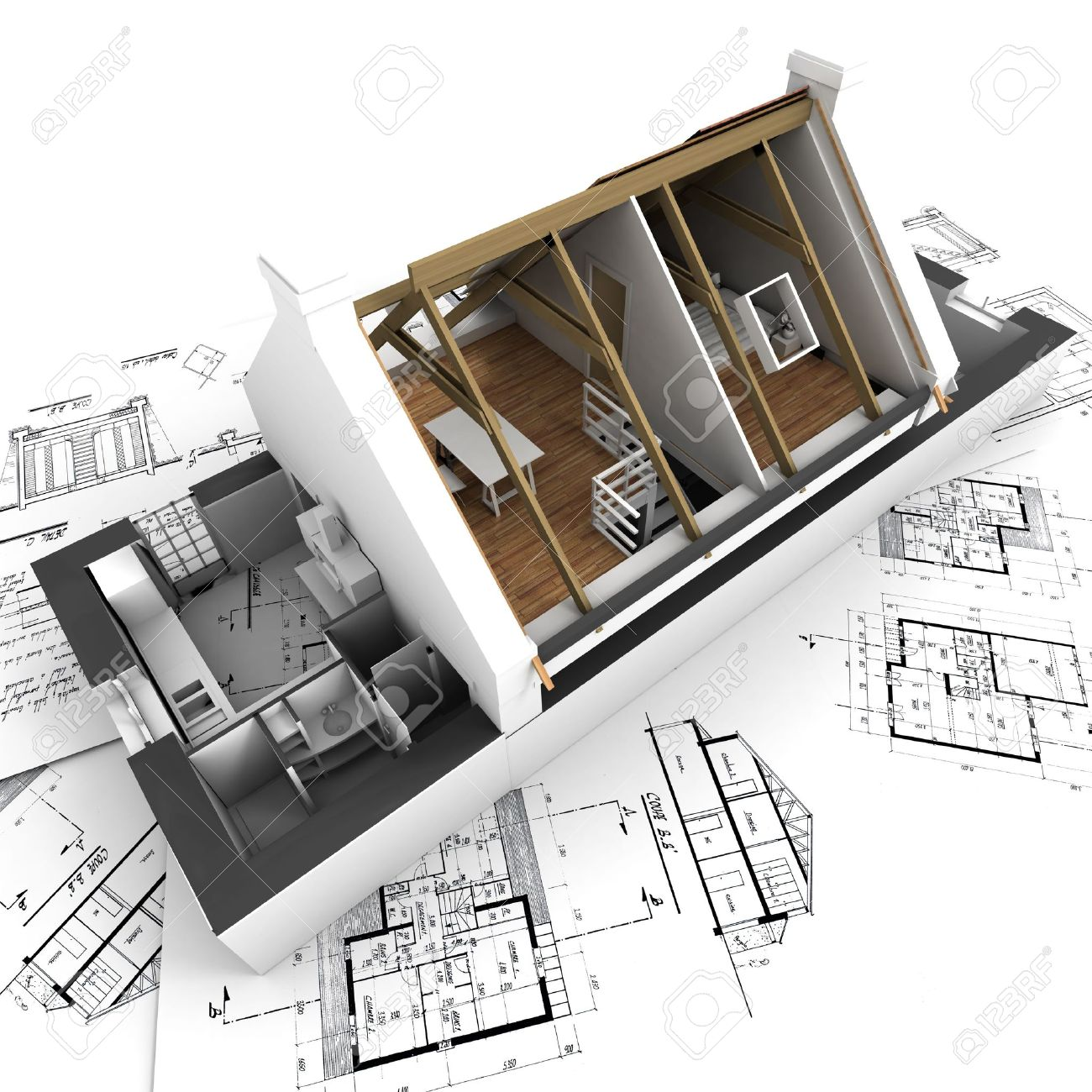 3D Rendering Of A Roofless House On Top Of Architect Plans Stock Photo    2472078