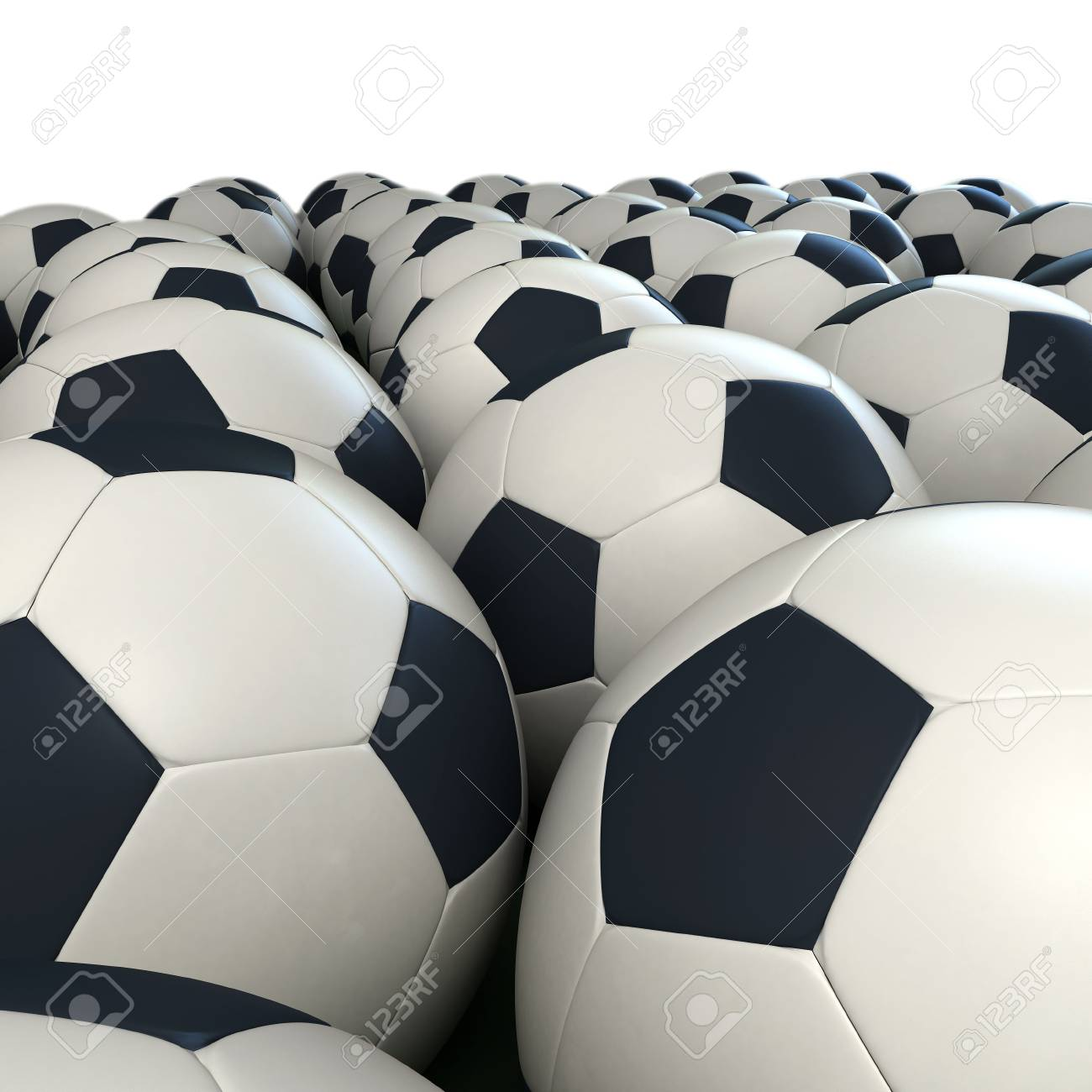 Arrangement of soccer balls against a white background Stock Photo - 2595432