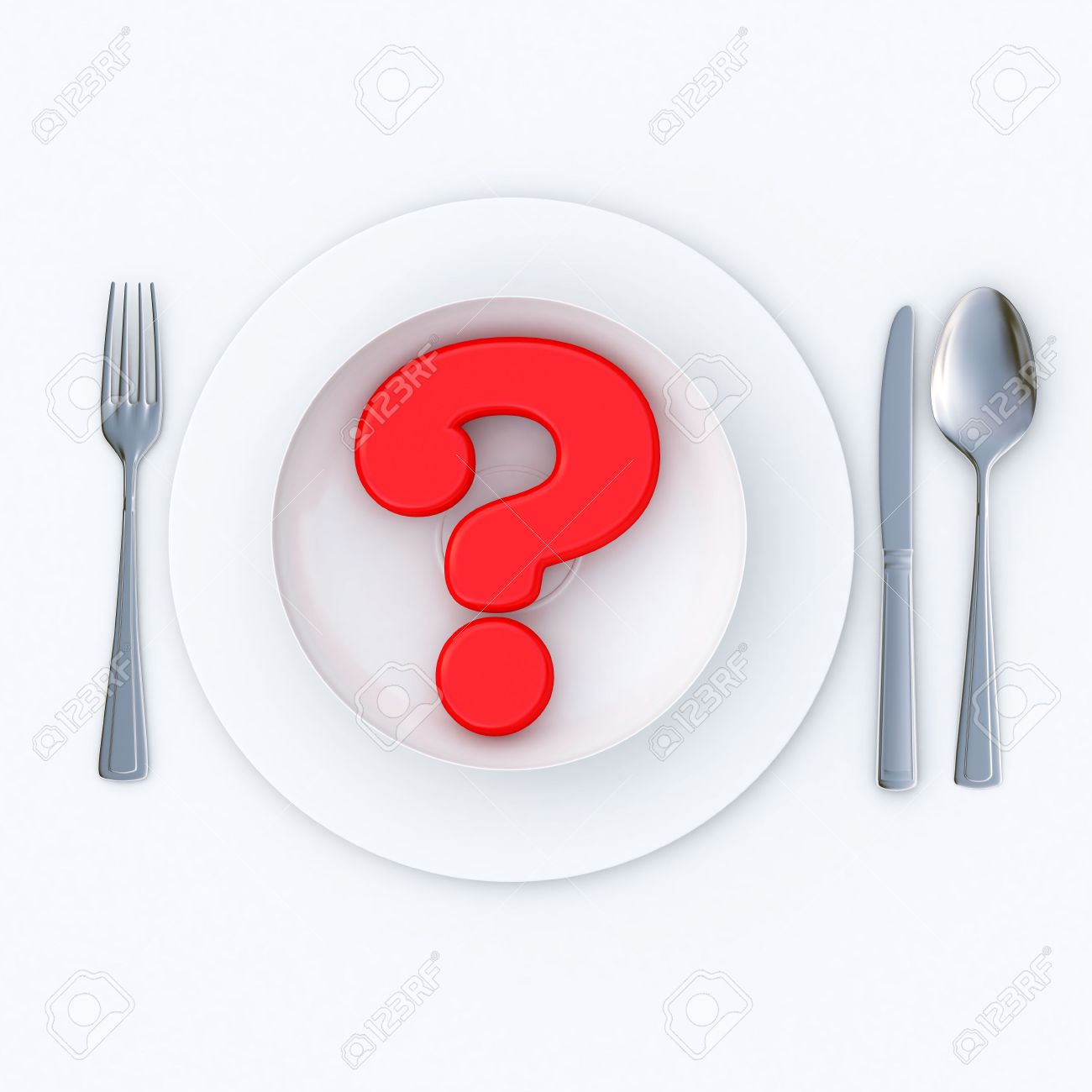 3D-rendering of a red question mark served in a plate ready to eat Stock Photo - 3010645