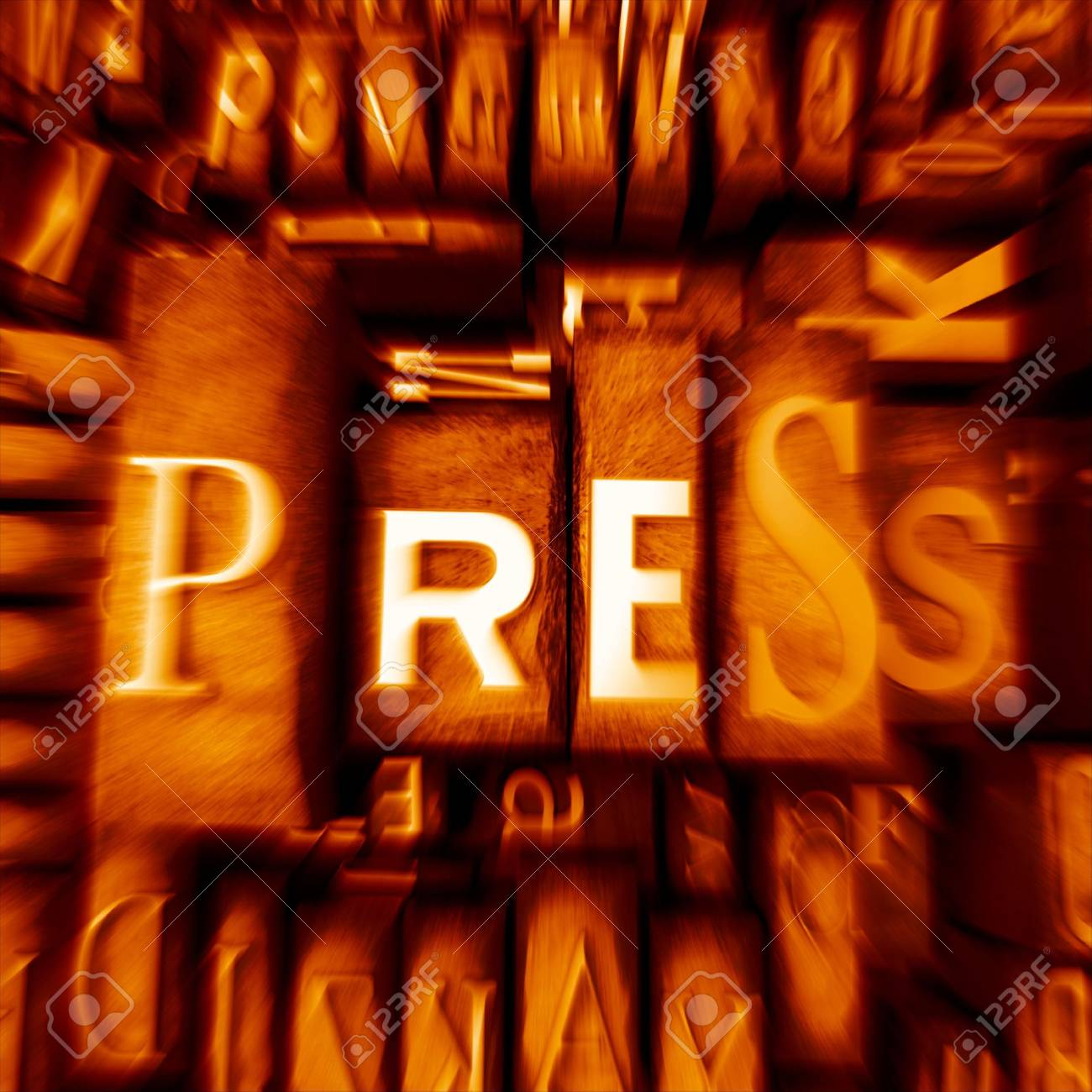 Word press in print letter cases in orange shades Stock Photo - 3028519