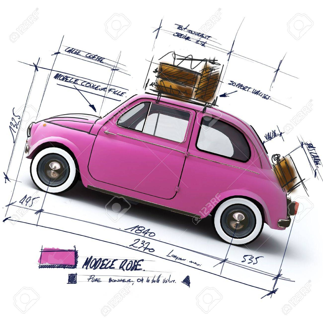 Retro pink car design with scribbled notes and measures - 3067607