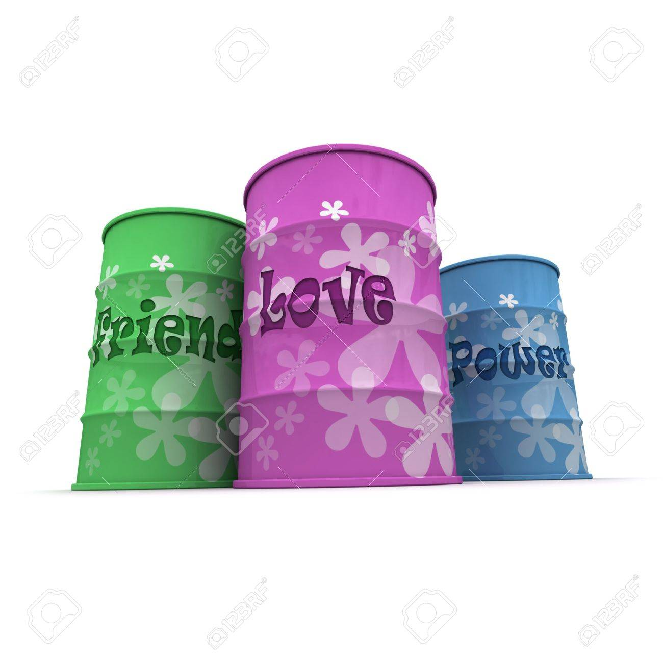 Three barrels with a hippie decoration with words friend, power and love written on them Stock Photo - 3272509