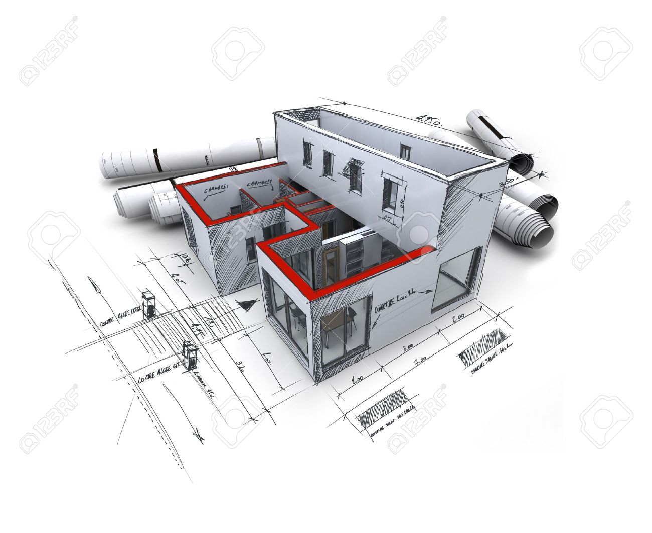 Architecture Blueprints 3d Rendering Of An Model With Rolled Up